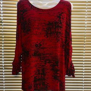 Chico's Travelers RED BLACK Split Sleeve Top SZ 2